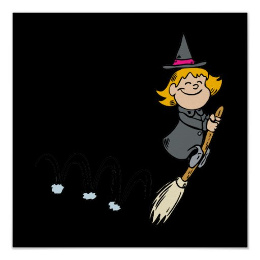 Witch bouncing with broom poster