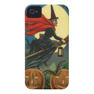 Witch Broom Flying Jack O Lantern Black Cat Bat iPhone 4 Case