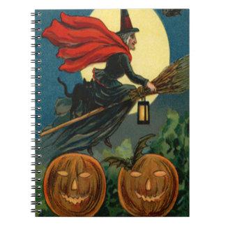 Witch Broom Flying Jack O Lantern Black Cat Bat Notebooks