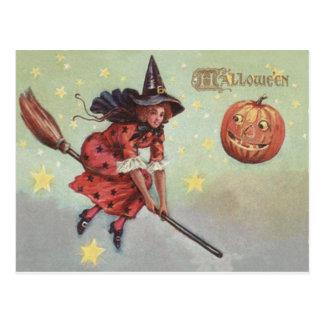 Witch Broom Jack O Lantern Flying Stars Postcard