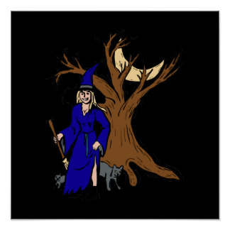 Witch by tree with cats posters