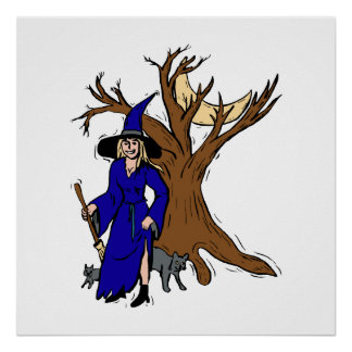 Witch by tree with cats poster