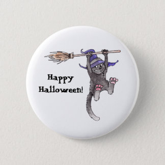 Witch Cat Button