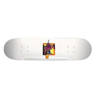 Witch Cat flying on broom Skateboard Deck