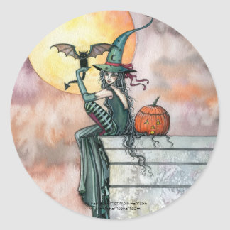 Witch Cat Halloween Stickers by Molly Harrison