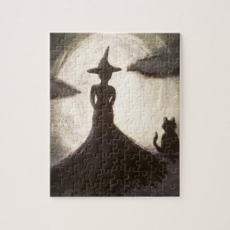Witch & Cat in Silhouette Puzzle