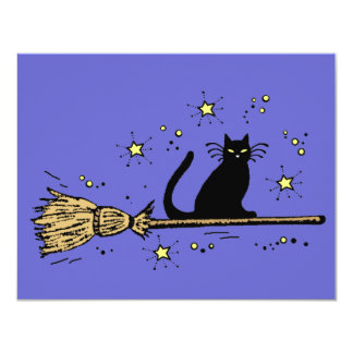 "Witch cat invitation card 4.25"" x 5.5"" invitation card"