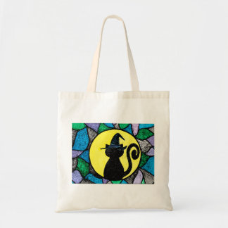 Witch Cat Stained Glass Tote