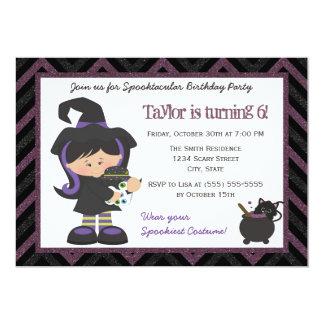 Witch costume Halloween Birthday Party Invitation