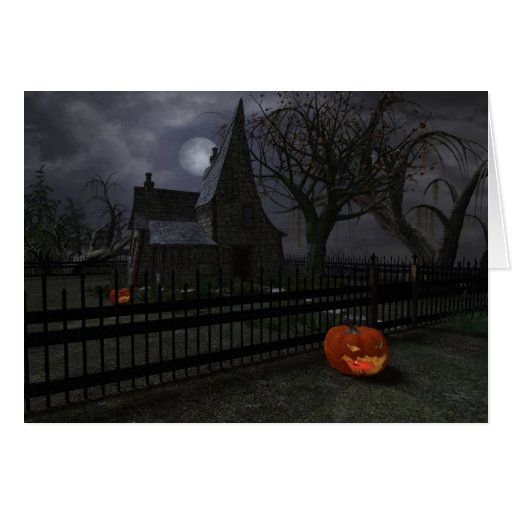 Witch Cottage with Pumpkin Lantern Greeting Cards