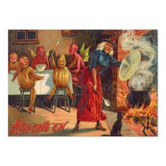 Witch Feeding Devils And Creatures 13 Cm X 18 Cm Invitation Card