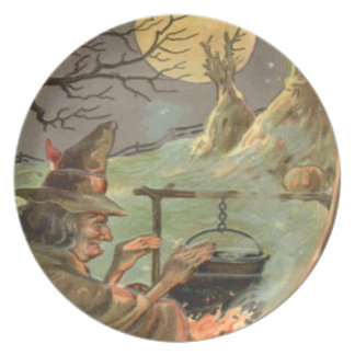Witch Fire Cauldron Full Moon Night Plate