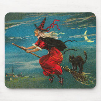 Witch Flying Black Cat Crescent Moon Mouse Mat