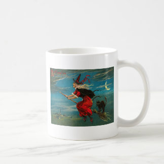 Witch Flying Black Cat Crescent Moon Mugs