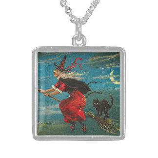 Witch Flying Black Cat Crescent Moon Square Pendant Necklace