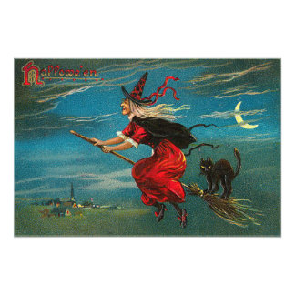 Witch Flying Black Cat Crescent Moon Photographic Print
