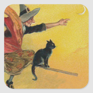 Witch Flying Broom Black Cat Crescent Moon Square Sticker