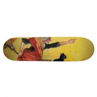 Witch Flying Broom Black Cat Skateboard Deck