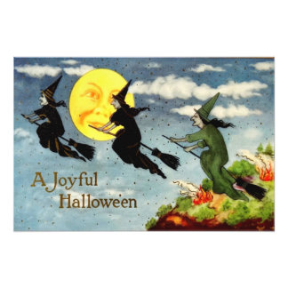 Witch Flying Broom Man In The Moon Sky Photograph