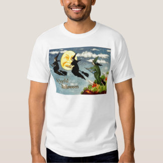Witch Flying Broom Man In The Moon Sky Shirts