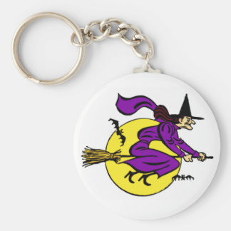 Witch Flying By Full Moon Key Chain