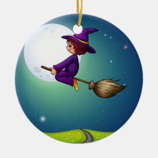 Witch flying christmas ornament