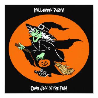 Witch Flying Halloween Cartoon Invitation Card