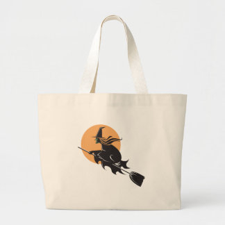 Witch Flying Halloween Canvas Bag