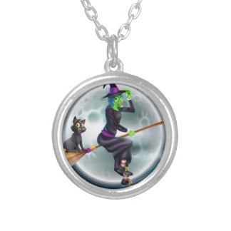 Witch flying on broom and night sky necklace
