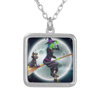 Witch flying on broom and night sky pendant