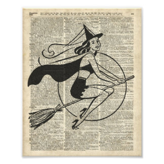 Witch Flying on Broom,Haloowen, Vintage Collage Photographic Print