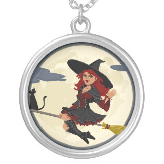 Witch Flying on Broom Personalized Necklace