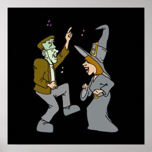 Witch & Frankenstein Dancing Print