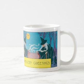 Witch Full Moon Cauldron Night Black Cat Basic White Mug