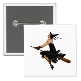 Witch Goes Flying on a Broomstick 15 Cm Square Badge
