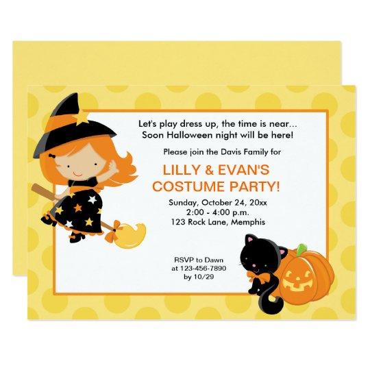 Witch Halloween Party Girls Birthday Invite