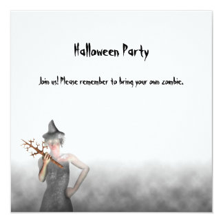 "Witch - Halloween Party Invitation 5.25"" Square Invitation Card"