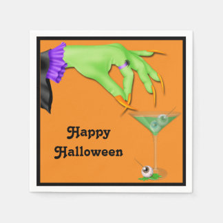 Witch Hand Bile and Eyeball Cocktail Halloween Disposable Serviette
