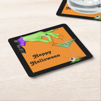 Witch Hand Bile and Eyeball Cocktail Halloween Square Paper Coaster