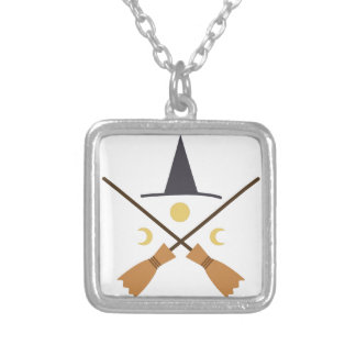 Witch Hat & Brooms Square Pendant Necklace
