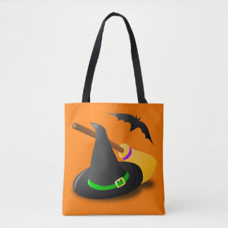 Witch Hat Green and Broom Tote Bag