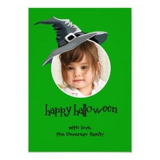 Witch Hat Halloween Photo Card 13 Cm X 18 Cm Invitation Card
