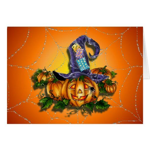 WITCH HAT, JACK & SPIDER  by SHARON SHARPE Greeting Card