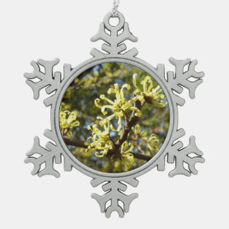 Witch Hazel Flowers Pewter Snowflake Decoration