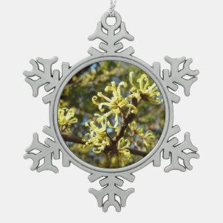 Witch Hazel Flowers Pewter Snowflake Decoration