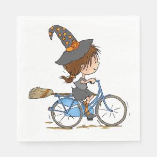 Witch in bike - napkin disposable serviette