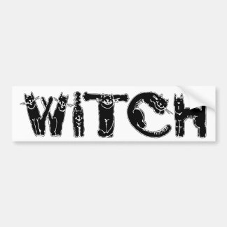 """Witch"" in Black Cat Letters - Bumper Sticker"