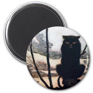 Witch in Cat Form 6 Cm Round Magnet