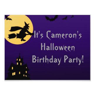 """Witch In Flight at Midnight"" - Halloween Birthday 11 Cm X 14 Cm Invitation Card"
