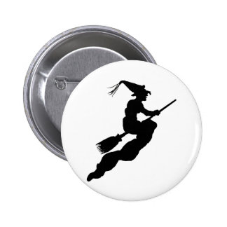 Witch in Flight on Broom Silhouette 6 Cm Round Badge
